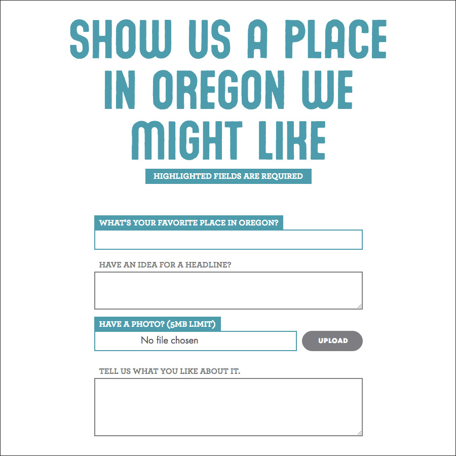You might like sending in a place you like in Oregon